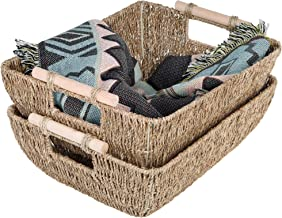 "StorageWorks Hand-Woven Jumbo Storage Baskets with Wooden Handles, Seagrass Wicker Baskets for Organizing, 16.9"" x 13"" x 6..."