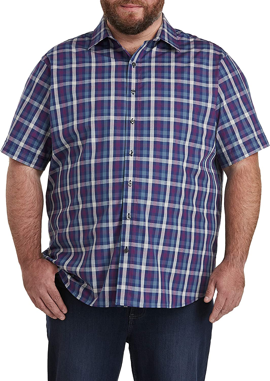 DXL Synrgy Big and Tall Check Sport Shirt, Twilight Blue