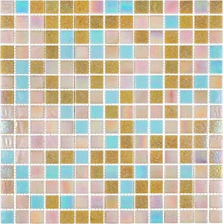 URBN Contemporary Coral Pastel Pink and Blue Color Scheme Glass Mosaic Tile for Kitchen and Bath - Sample Tile (4-1/3 inches x 4-1/3 inches, 0.13 SQ FT)