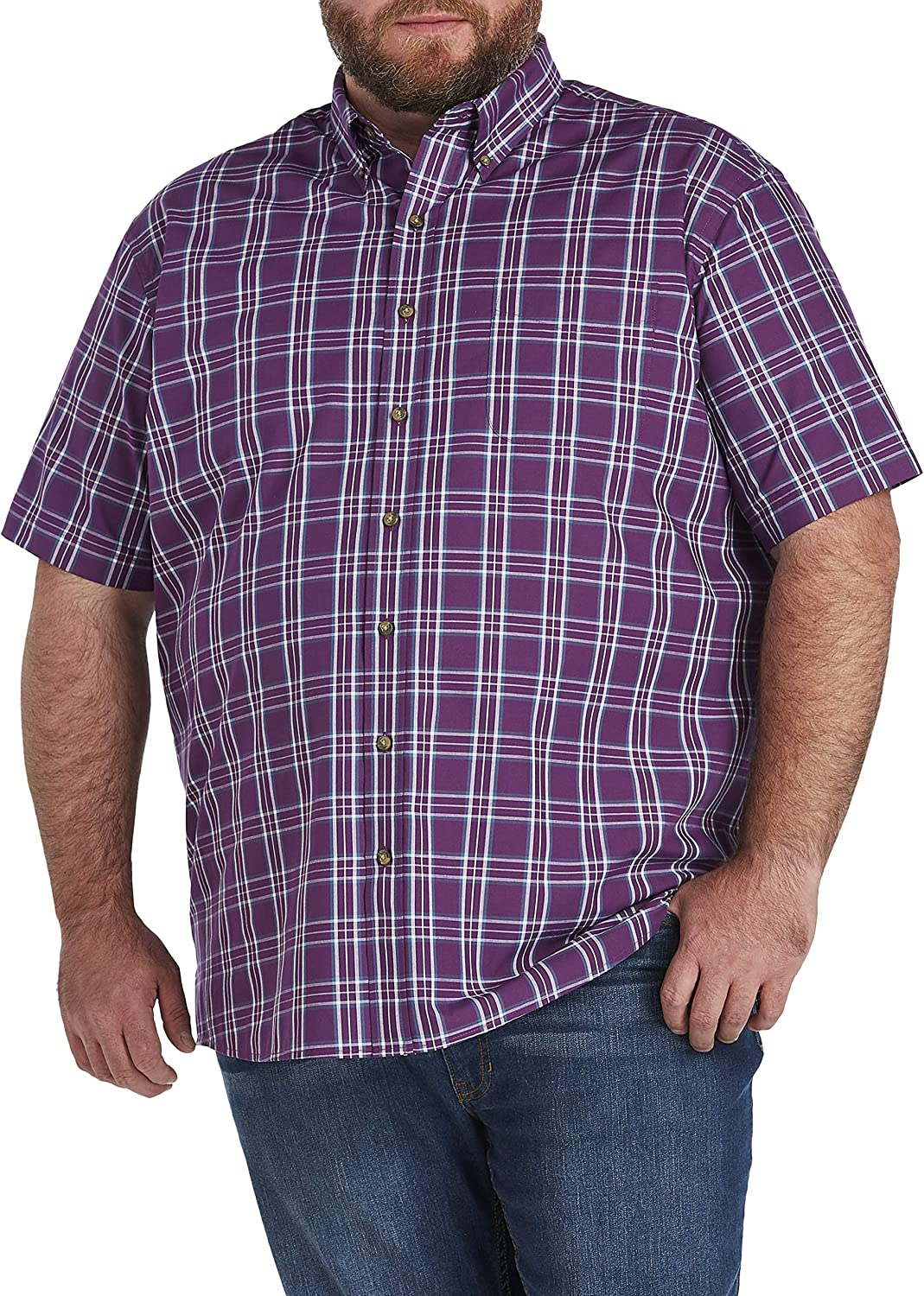 Harbor Bay by DXL Big and Tall Easy-Care Large Plaid Sport Shirt, Wineberry