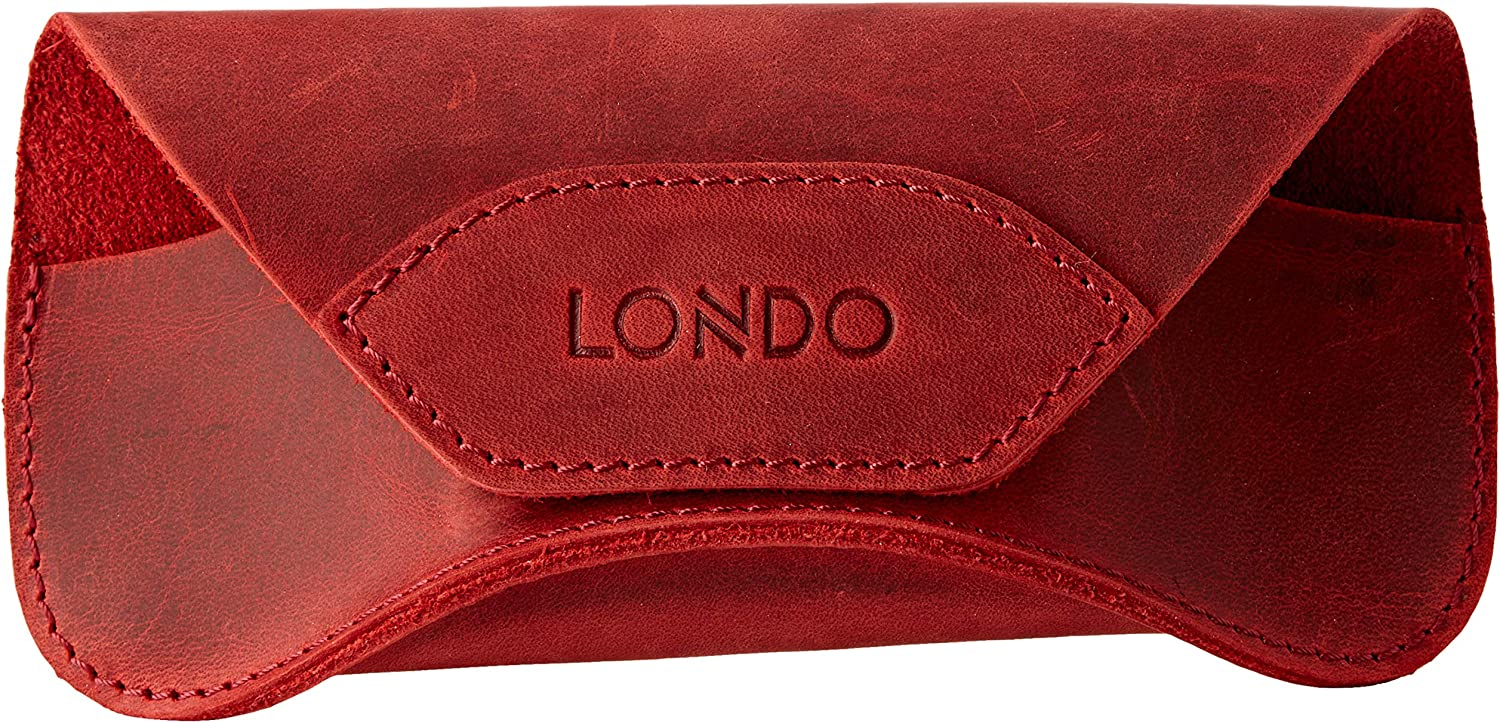 Londo Genuine Leather Eyeglasses & Sunglasses Case with Magnetic Snap Closure