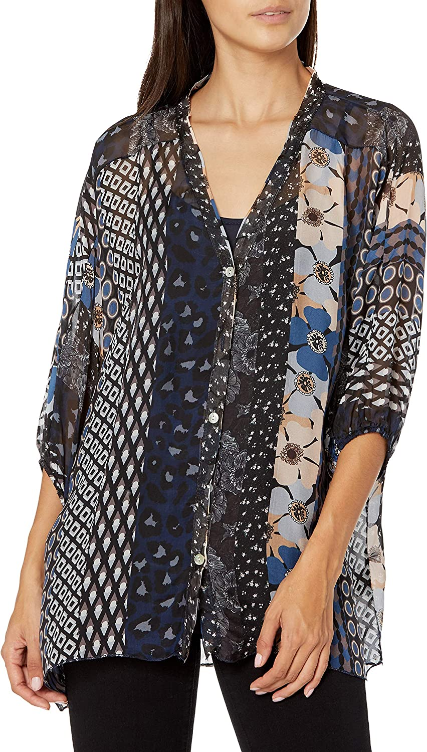 M Made in Italy Women's V-Neck Mix Print Button Down Shirt