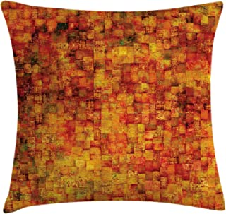 Ambesonne Burnt Orange Throw Pillow Cushion Cover, Vintage Mosaic Background Quadratic Little Geometric Squares Faded Print, Decorative Square Accent Pillow Case, 20