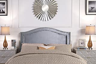 Iconic Home Tal. Headboard Velvet Upholstered Double Row Silver Nailhead Trim Modern Transitional, King, Grey