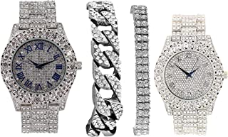 Bling`ed Out King and Queen Hip Hop Watch Set Perfect for Power Couples to Flaunt On and Off The Dance Floor - ST10325/ST1...