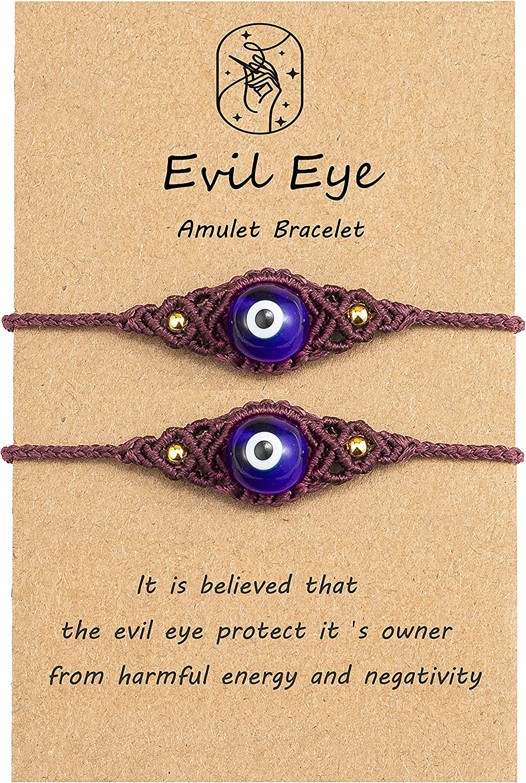 Lavoio Evil Eye Bracelets 10mm amber tiger eye Bracelets Adjusta