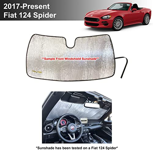 popular YelloPro Custom Fit Automotive Reflective Front Windshield Sunshade Accessories outlet sale UV Reflector Sun Protection online sale for 2017 2018 2019 2020 2021 Fiat 124 Spider Classica Lusso Abarth Convertible [MADE IN USA] outlet sale