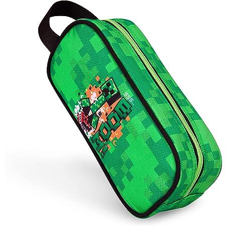 Minecraft Estuche Escolar Niño, Material Escolar, Estuches Escolares 21 cm, Regalos Cumpleaños Niños Colegio (Verde)