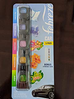 Febreze Car Air Freshener, Set of 5 Clips, Gain Island Fresh and Original Gain Scent
