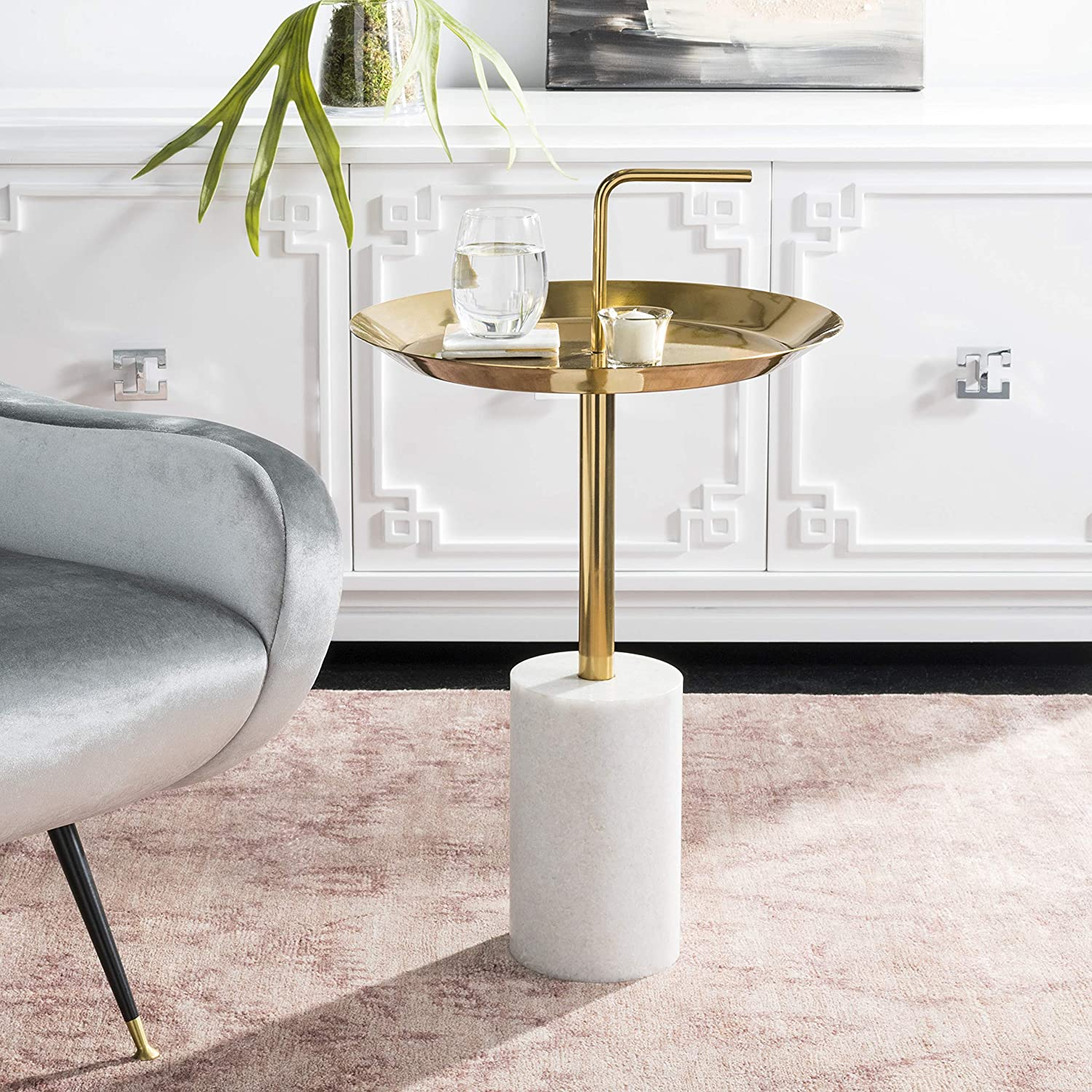 Safavieh Home Apollo Brass Handle Marble Side and Year-end gift Max 41% OFF Table