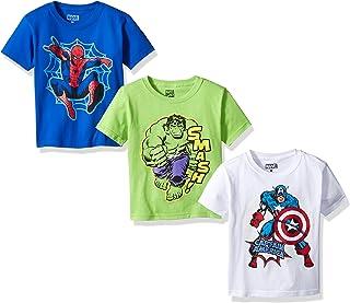 Marvel Boys' Spider Iron Man, Captain America Logo 3-Pack T-Shirt