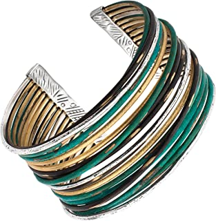 Fresco' Sterling Silver and Patina Brass Cuff Bracelet, 7.5