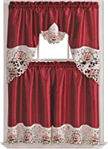 GOHD Golden Ocean Home Decor Summer Passion Kitchen Cafe Curtain Set Swag Valance and Tier Set. Nice Matching Color Rose Embroidery on Border with cutworks (Wine)
