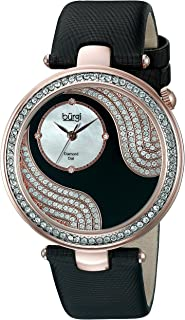 Burgi Women's BUR155 Round Watch Stainless Steel Case - Crystal Bezel and Mother-of-Pearl Subdial and Diamond Hour Markers
