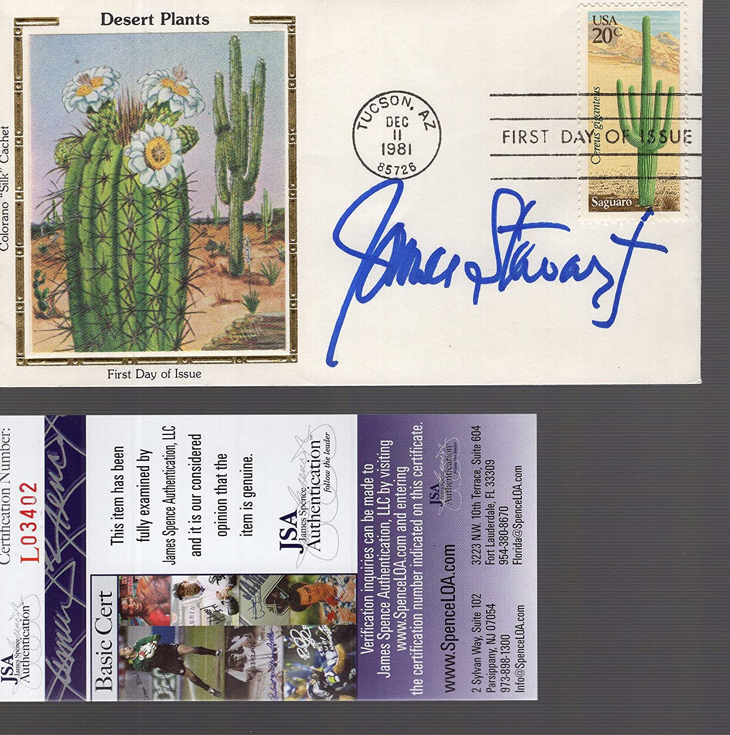 JAMES STEWART AUTOGRAPHED Topics on TV 1981 DESERT DAY FIRST PLANTS National products COVER+JSA