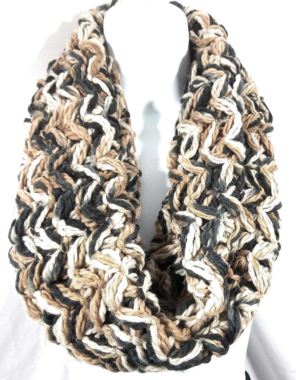 Women's Winter Sandbar Beige Knit Crochet Sequin Speckle Infinity Loop Scarf Circle Cowl Neck Warmers