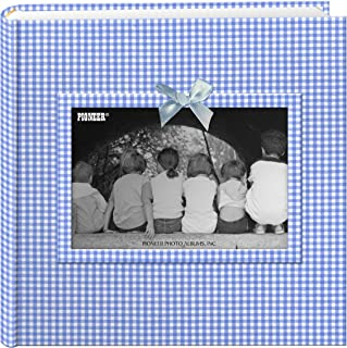 Pioneer DA-200GFRB/B Photo Albums 200-Pocket Gingham Fabric Frame Cover Photo Album for 4 by 6-Inch Prints, Blue