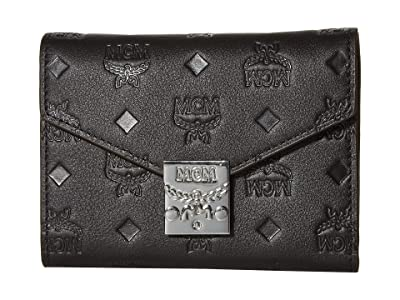 MCM Patricia Monogrammed Leather Flap Wallet/Trifold Small (Black) Handbags