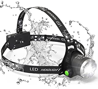 Headlamp, Sungluber 3 Modes Super Bright LED Headlight, Waterproof Flashlight with 90º Moving Zoomable 2Pack Rechargeable 18650 Battery Adjustable Headband