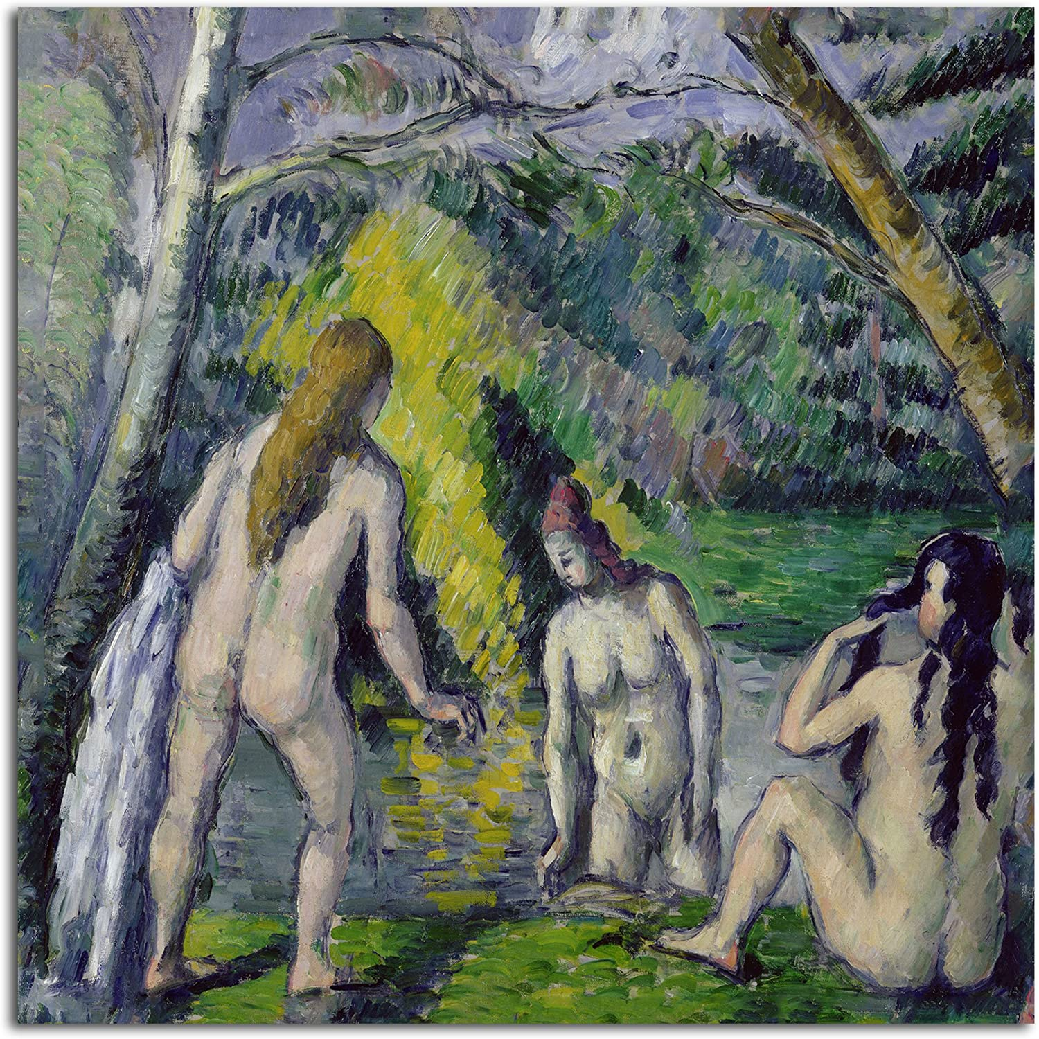 Trademark Fine Art The Three Bathers by Paul Cezanne, Unframed, Rolled Print, 18-Inch by 18-Inch
