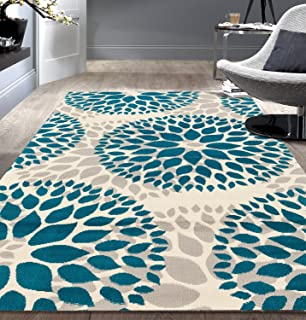 Modern Floral Circles Design Area Rugs 6' 6