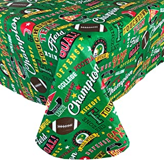 """Newbridge Game Day Football Theme Vinyl Flannel Backed Tablecloth - Football Field Print Tablecloth for Tailgating and Football Parties, Reusable, Easy Care Wipe Clean, 52"""" x 52"""