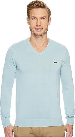 Lacoste - V-Neck Cotton Jersey Sweater