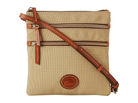 Dooney & Bourke Nylon North/South Triple Zip Khaki w/ Tan Trim Free Shipping Online plUb6G