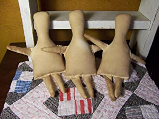 3 small Primitive TEA STAINED cloth muslin DOLL BODIES-forms-Folk Art dolls-blank-doll supplies