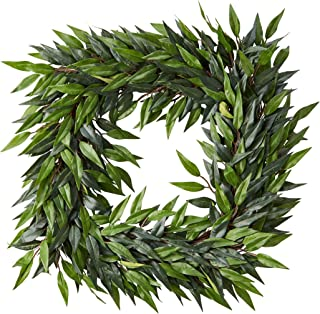 Pure Garden 22-Inch Square Artificial Ficus Microphylla Leaf Wreath – Indoor Lifelike Faux Greenery - Seasonal and Holiday Decor - Home or Office