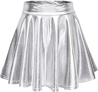 767078e70b Odosalii Women's Shiny Skater Skirts Flare Mini Skirt High Waist Metallic Pleated  Skirt
