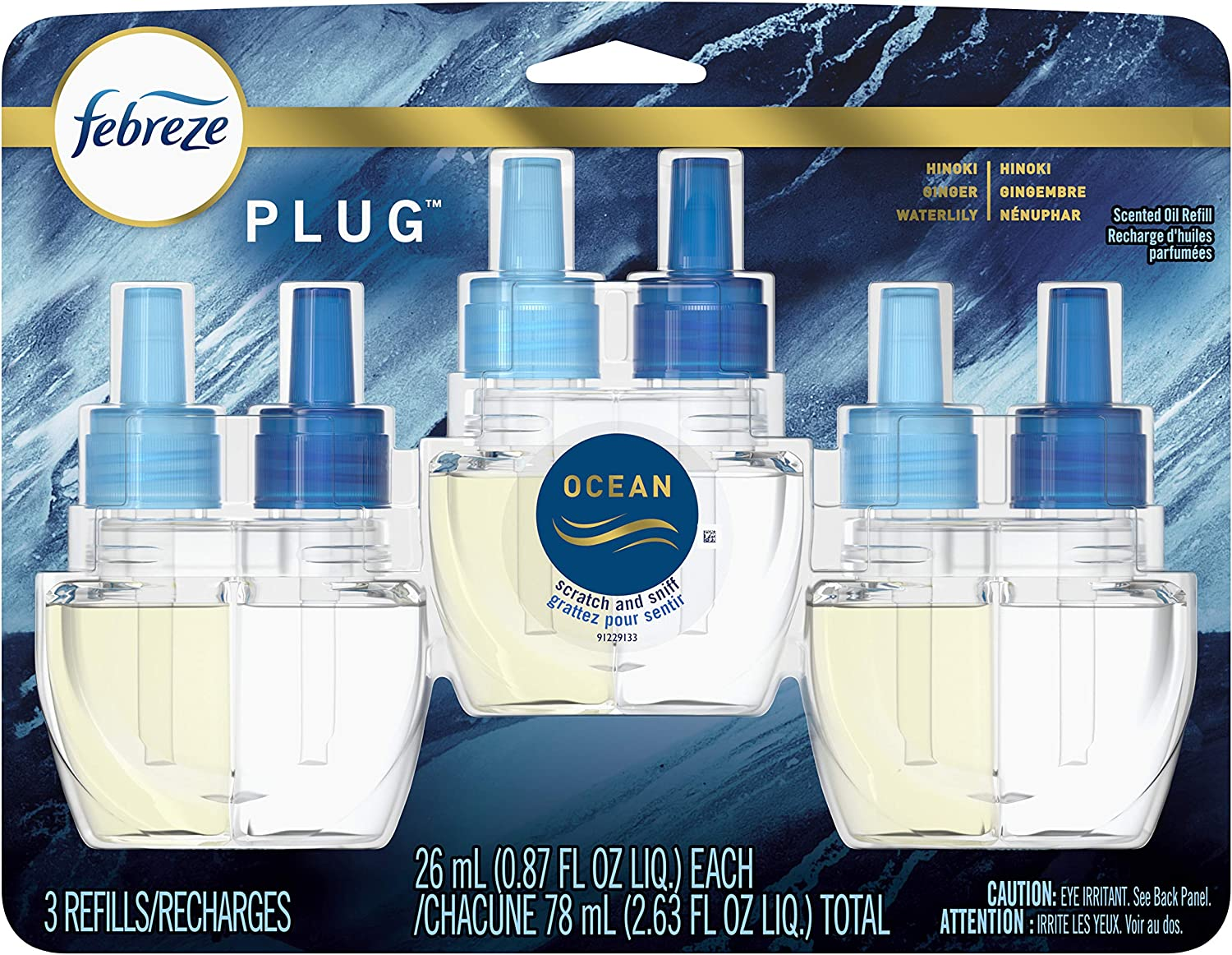 Febreze Plug in Air Fresheners, Ocean, Odor Eliminator for Strong Odor, Scented Oil Refill (3 Count)