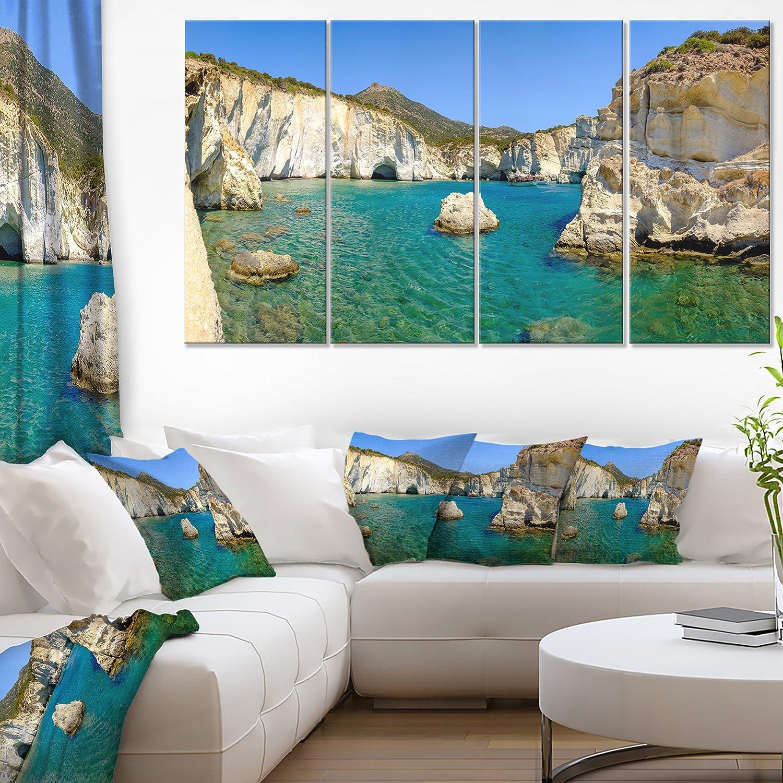 Designart Turquoise Water Beach Panorama Extra Large Seashore Canvas Art 60x32 5 Piece Pt11173 373 60x32 5 Panels Diamond Shape Home Kitchen