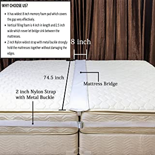 Twin Bed bridge/Twin to king bed gap filler pad/Twin bed connector/Twin to king bed converter kit for making Family and Guest room mattress with Extra wide 2'' connector strap with metal buckle