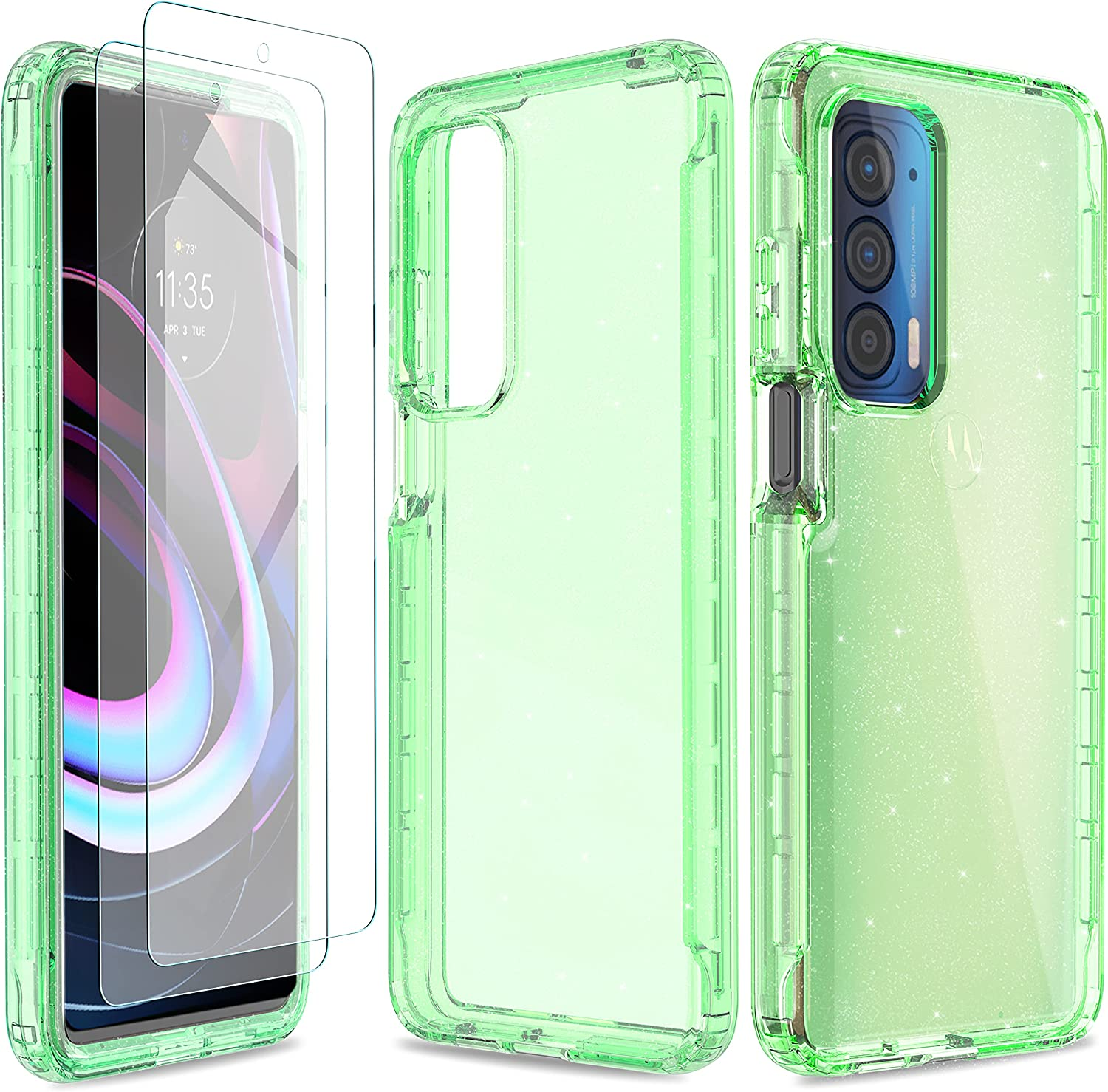 UNPEY for Motorola Moto Edge 2021 Case with 2 Tempered Glass Screen Protector,Glitter Sparkle Shockproof Cell Phone Cover,Slim Bling Case for Moto Edge 2021 6.8'' Green Glitter
