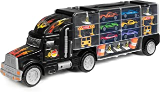 Best Choice Products Kids 29-Piece 2-Sided Transport Truck Toy w/ 18 Cars, 28 Slots, Multicolor