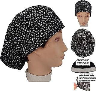 Cappello sala operatoria donna FIORI NERI per capelli lunghi Asciugamano assorbente sulla fronte facilmente regolabile med...