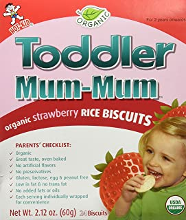 Hot-Kid Toddler Mum-Mum Rice Biscuits, Organic Strawberry, 24 Pieces Gluten Free, Allergen Free, Non-GMO, Rice Teether Cookie for Teething Infants