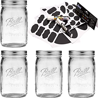 Ball Mason Jar 32 oz Quart Wide Mouth Set of 4 Jars Bundle With eHomeA2Z 62 Premium Reusable Chalkboard Stickers + 2 Large Erasable Markers (4 Pack Clear Glass, 32 Oz Wide Mouth)