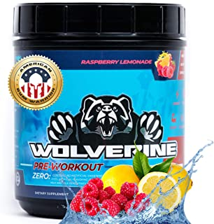 Wolverine Pre Workout by American Gym Warrior | All-Natural Caffeine & Stim Free Pre-Workout | Boost Energy, Focus, Streng...