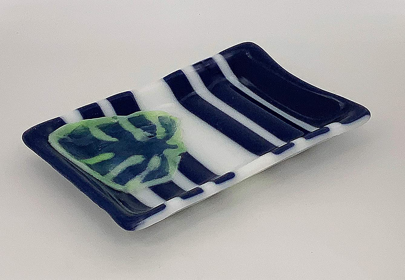 Blue and White Fused Glass Soap Dish, Bathroom Accessory