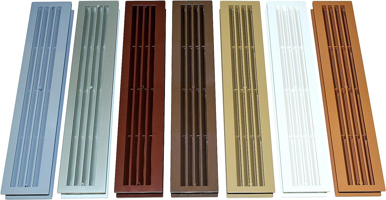 SN TEC Türlüftung/Badezimmer Lüftung/Lüftungsgitter mit eckigen Kanten,  zweiteilig für Türstärke von 20 bis 20mm, verschiedene Farben ...