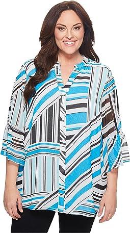 Calvin Klein Plus - Plus Size Button Front Print Flare Sleeve Blouse