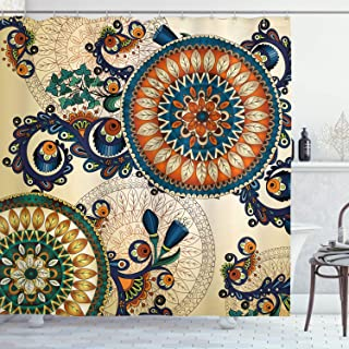 Ambesonne Ethnic Decor Shower Curtain by, Floral Arabesque Boho Pattern with Floral and Peacock Feather Figures Folk Image, Fabric Bathroom Decor Set with Hooks, 70 Inches, Multi