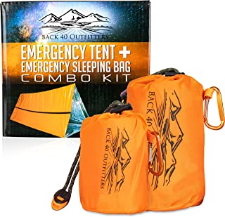 Back 40 Outfitters Emergency Tent and Emergency Bivy Sleeping Bag - Ultralight Survival Tent • 2 Person Mylar Emergency Shelter • and Emergency Sleeping Bag • Year-Round All Weather Protection