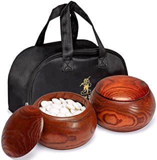 Yellow Mountain Imports Double Convex Melamine Go Game Stones Set with Jujube Bowls - Size 32 (9 millimeters)