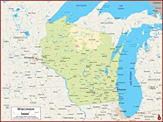 54 x 41 Large Wisconsin State Wall Map Poster with Topography - Classroom Style Map with Durable Lamination - Safe for Use with Wet/Dry Erase Marker - Brass Eyelets for Enhanced Durability