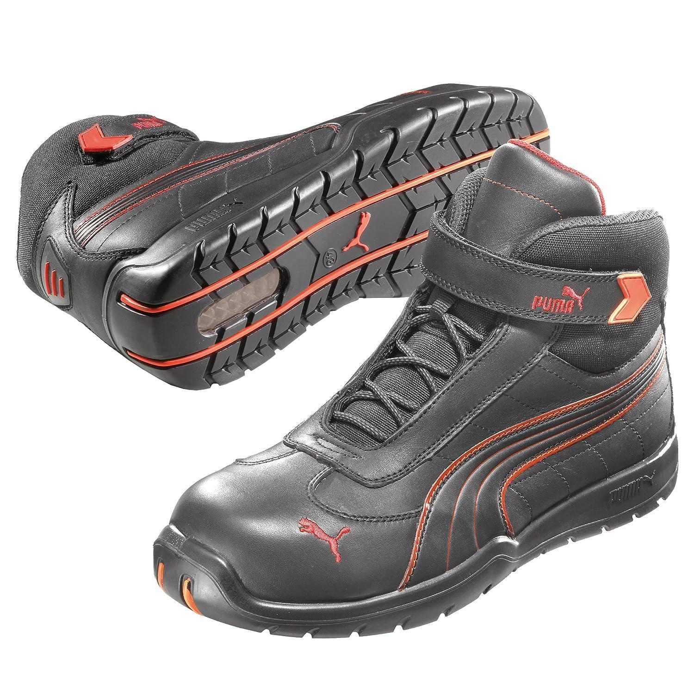 Puma Safety Shoes S3 Moto Protect Daytona Mid 63.216.0, 39, Nero (Schwarz (schwarz/rot 210)) - EN safety certified