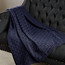 SUPERIOR Twin/Twin XL Blanket 100% Cotton, for All Season,Basket Weave Design, Navy Blue