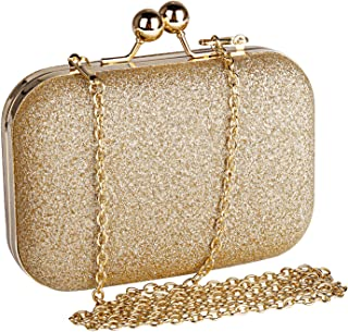 Womens Mini Evening Bag,Beautyshow PU Glitter Shiny Bling Shoulder Bag Cross Body Messenger Bag Kiss Lock Dinner Handbag With Chain Strap (Gold)